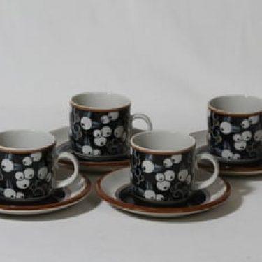 Arabia Taika kahvikupit, serikuva, 4 kpl, suunnittelija , retro