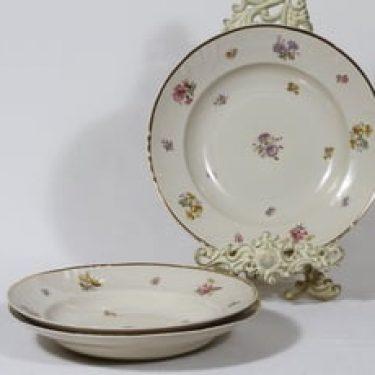 Arabia Rosita lautaset, syvä, 3 kpl, suunnittelija Svea Granlund, syvä, siirtokuva, kukka-aihe
