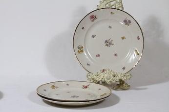 Arabia Rosita ruokalautaset, matala, 3 kpl, suunnittelija Svea Granlund, matala, siirtokuva, kukka-aihe