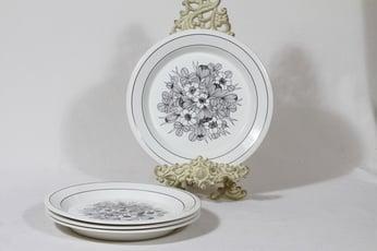 Arabia Krokus lautaset, mustavalkoinen, 4 kpl, suunnittelija Esteri Tomula, serikuva