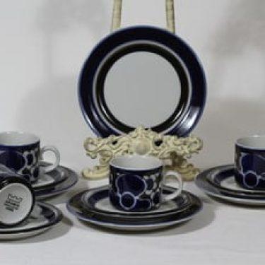 Arabia Saara kahvikupit ja lautaset, 4 kpl, suunnittelija Anja Jaatinen-Winquist, erikoiskoriste, retro