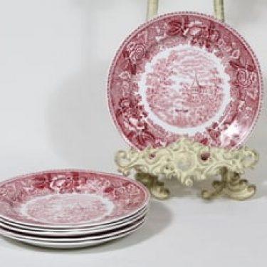 Arabia Maisema leivoslautaset, punainen, 6 kpl, suunnittelija , pieni, kuparipainokoriste