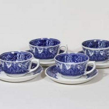 Arabia Maisema kahvikupit, sininen, 4 kpl, suunnittelija , kuparipainokoriste