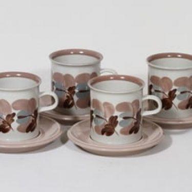 Arabia Koralli kaakaokupit, käsinmaalattu, 4 kpl, suunnittelija Raija Uosikkinen, käsinmaalattu