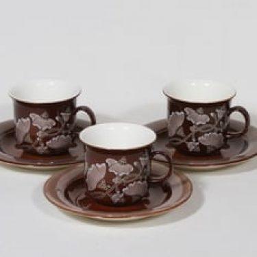 Arabia Kastanja kahvikupit, ruskea, 3 kpl, suunnittelija , serikuva