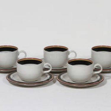 Arabia Reimari kahvikupit, 5 kpl, suunnittelija Inkeri Leivo, raitakoriste