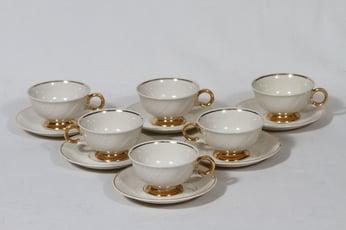 Arabia Kultakoriste mokkakupit, 6 kpl, suunnittelija Olga Osol, kultaraita