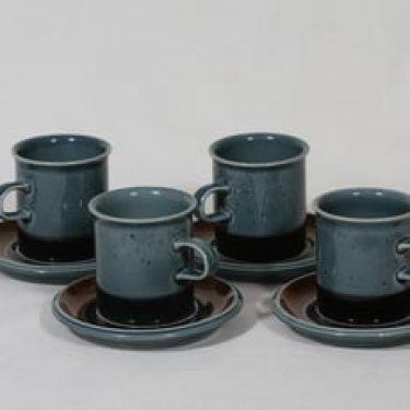 Arabia Meri kahvikupit, turkoosi, 4 kpl, suunnittelija Ulla Procope,