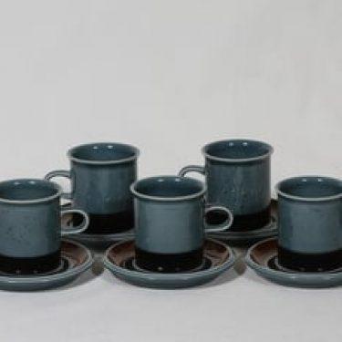 Arabia Meri kahvikupit, turkoosi, 5 kpl, suunnittelija Ulla Procope,