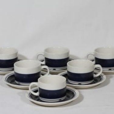 Arabia Kasino kahvikupit, sinivalkoinen, 6 kpl, suunnittelija Göran Bäck,