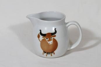 Arabia Heluna kaadin, 1 l, suunnittelija Anja Jaatinen, 1 l, puhalluskoriste, lehmäaihe, retro