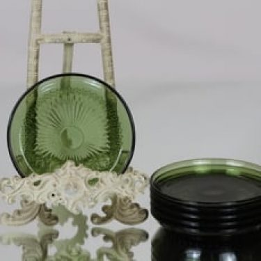 Riihimäen lasi Barokki lautaset, vihreä, 6 kpl, suunnittelija Erkkitapio Siiroinen, pieni