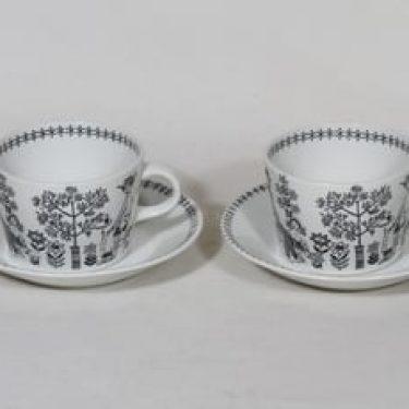 Arabia Emilia kahvikupit, 20 cl, 2 kpl, suunnittelija Raija Uosikkinen, 20 cl, kuparipainokoriste