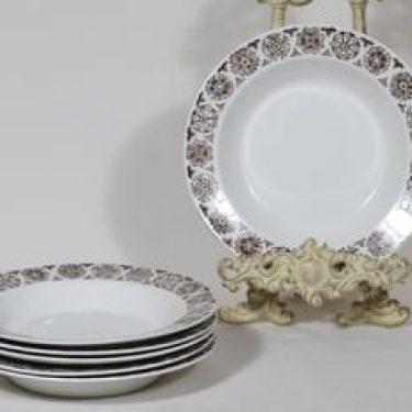 Arabia Kekri lautaset, syvä, 6 kpl, suunnittelija Raija Uosikkinen, syvä, kuparipainokoriste