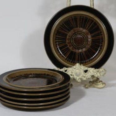 Arabia Kosmos lautaset, 6 kpl, suunnittelija Gunvor Olin-Grönqvist, pieni, puhalluskoriste, retro