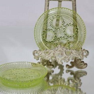 Riihimäen lasi Grapponia lautaset, keltainen, 2 kpl, suunnittelija Nanny Still, pieni