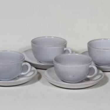 Arabia ARA teekupit, valkoinen lasite, 4 kpl, suunnittelija Michael Schilkin,