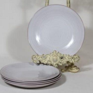 Arabia ARA leivoslautaset, valkoinen lasite, 5 kpl, suunnittelija Michael Schilkin,