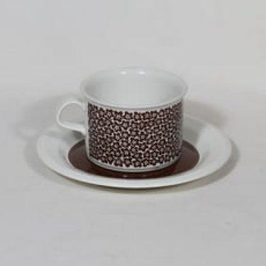 Arabia Faenza teekuppi, ruskeakukka, suunnittelija Inkeri Seppälä, ruskeakukka, serikuva