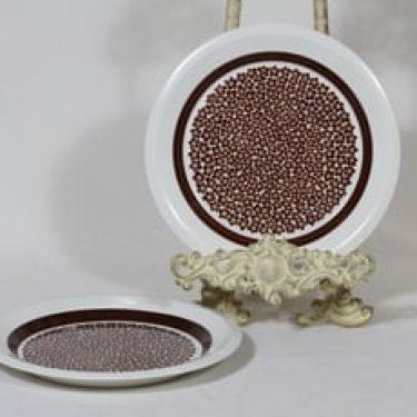 Arabia Faenza leivoslautaset, ruskeakukka, 2 kpl, suunnittelija Inkeri Seppälä, ruskeakukka, serikuva