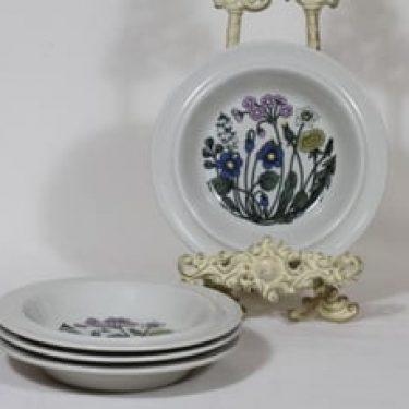 Arabia Flora lautaset, syvä, 4 kpl, suunnittelija Esteri Tomula, syvä, serikuva, serikuva