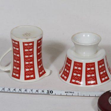 Arabia Hilppa sokerikko ja kermakko, punainen, suunnittelija Esteri Tomula, serikuva kuva 2