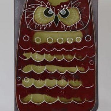 Arabia Pöllö seinälaatta, käsinmaalattu, suunnittelija Annikki Hovisaari, käsinmaalattu, suuri, signeerattu, retro
