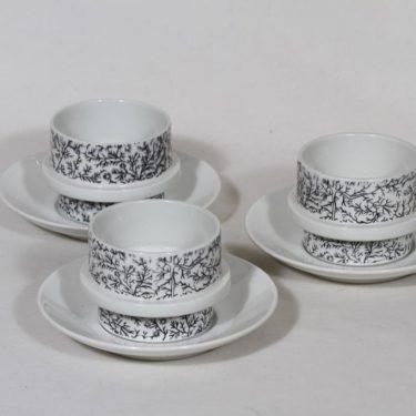 Arabia Kanerva kahvikupit, 3 kpl, suunnittelija Göran Bäck, serikuva