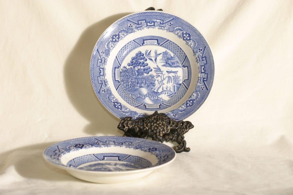 Arabia Willow lautaset, sininen, 2 kpl, suunnittelija , syvä, kuparipainokoriste