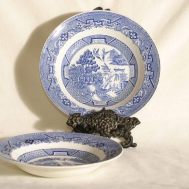 Arabia Willow soup plates, blue, 2 pcs, copper ornament