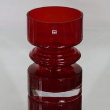 Riihimäen lasi Tiimalasi maljakko, rubiininpunainen, suunnittelija Nanny Still,