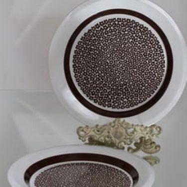 Arabia Faenza lautaset, ruskeakukka, 2 kpl, suunnittelija Inkeri Leivo, ruskeakukka, matala, serikuva, retro