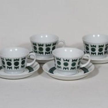 Arabia retrokuvio kahvikupit, vihreä, 4 kpl, suunnittelija Greta-Lisa Jäderholm-Snellman, puhalluskoriste, retro