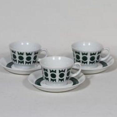 Arabia retrokuvio kahvikupit, vihreä, 3 kpl, suunnittelija Greta-Lisa Jäderholm-Snellman, puhalluskoriste, retro