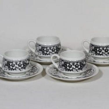 Arabia Talvikki kahvikupit, musta, 4 kpl, suunnittelija Raija Uosikkinen, serikuva
