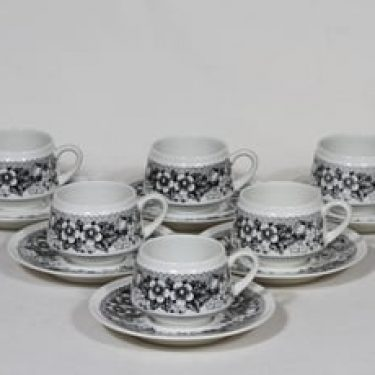 Arabia Talvikki kahvikupit, musta, 6 kpl, suunnittelija Raija Uosikkinen, serikuva