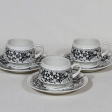 Arabia Talvikki kahvikupit, musta, 3 kpl, suunnittelija Raija Uosikkinen, serikuva