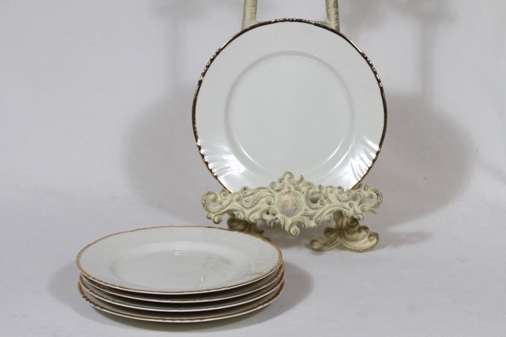 Arabia Kultakoriste leivoslautaset, suunnittelija Svea Granlund, kultakoriste