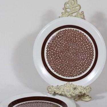 Arabia Faenza lautaset, ruskea, 2 kpl, suunnittelija Inkeri Seppälä, serikuva