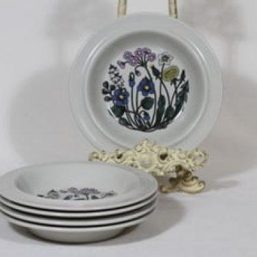 Arabia Flora lautaset, syvä, 5 kpl, suunnittelija Esteri Tomula, syvä, serikuva