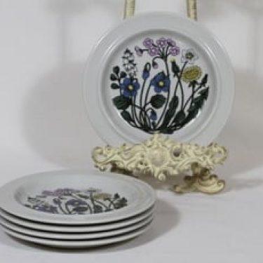 Arabia Flora lautaset, pieni, 5 kpl, suunnittelija Esteri Tomula, pieni, serikuva