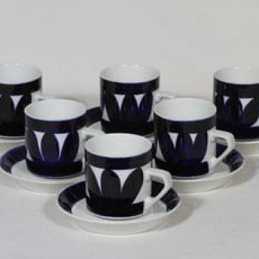 Arabia Sotka kahvikupit, koboltinsininen, 6 kpl, suunnittelija Raija Uosikkinen, retro