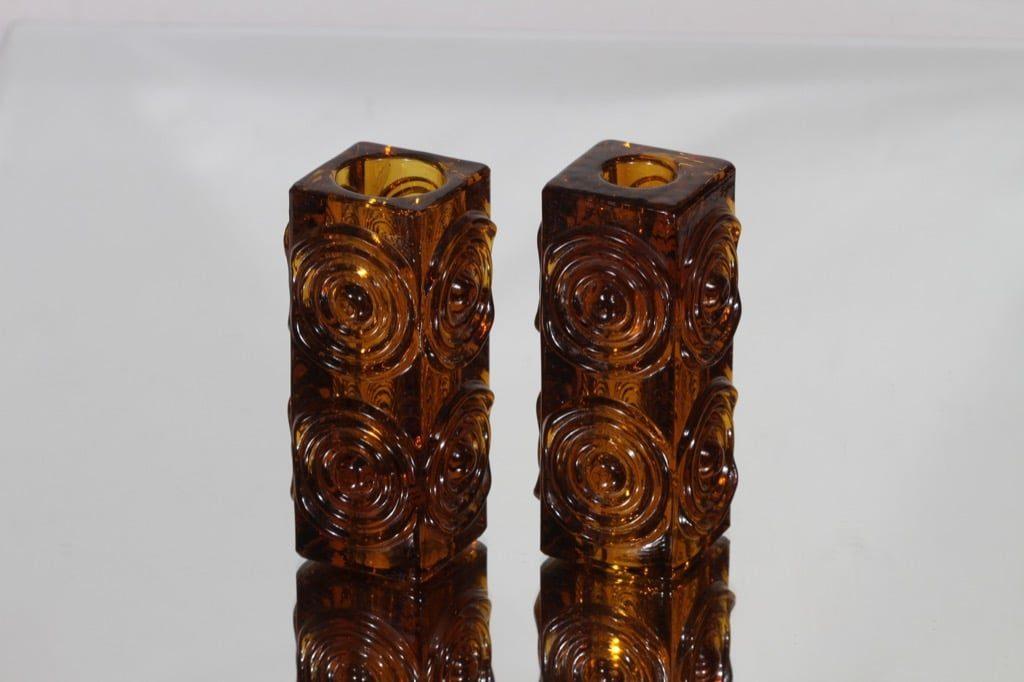 Riihimäen lasi Rengas kääntömaljakot, ruskea, 2 kpl, suunnittelija Tamara Aladin, retro
