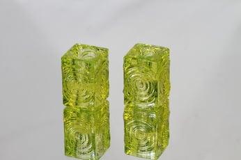 Riihimäen lasi Rengas kynttilänjalat, keltainen, 2 kpl, suunnittelija Tamara Aladin, pieni, retro
