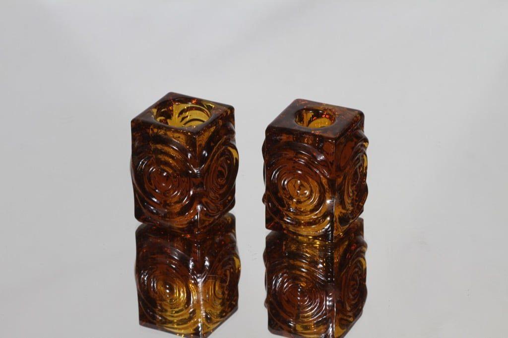 Riihimäen lasi Rengas kynttilänjalat, ruskea, 2 kpl, suunnittelija Tamara Aladin, pieni, retro