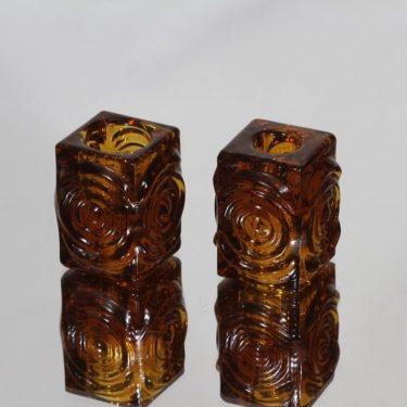 Riihimäen lasi Rengas candlesticks, brown, 2 pcs, designer Tamara Aladin, small, retro