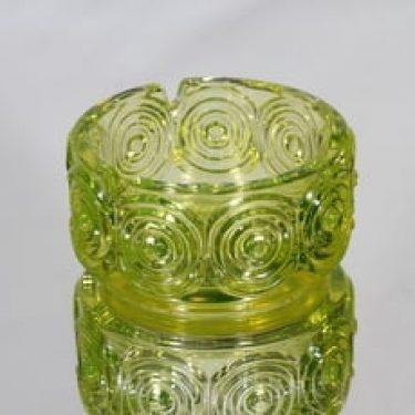 Riihimäen lasi Rengas tuhka-astia, keltainen, suunnittelija Tamara Aladin,