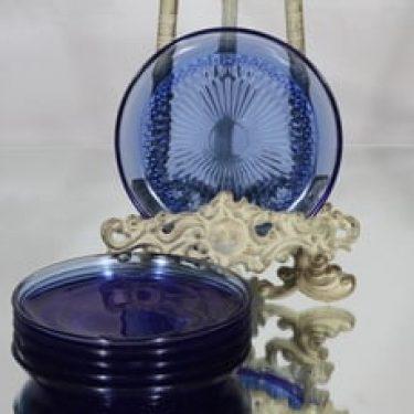 Riihimäen lasi Barokki lautaset, sininen, 6 kpl, suunnittelija Erkkitapio Siiroinen, pieni