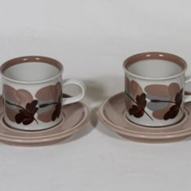 Arabia Koralli kahvikupit, käsinmaalattu, 2 kpl, suunnittelija Raija Uosikkinen, käsinmaalattu