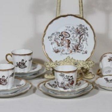 Arabia koriste 7660 kahvikupit ja lautaset, 4 kpl, suunnittelija , siirtokuva, kultafondi, itämainen aihe